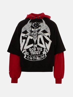 GCDS - BLACK AND RED SWEATSHIRT