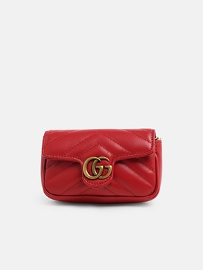 GUCCI - RED GG MARMONT SMALL CROSSBODY BAG