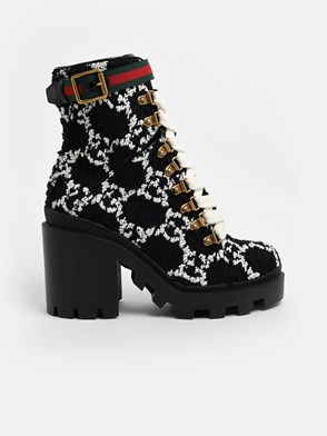 GUCCI - BLACK AND WHITE GG COMBAT BOOTS