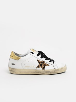 GOLDEN GOOSE DELUXE BRAND - WHITE AND LEOPARD-PRINT SUPERSTAR SNEAKERS