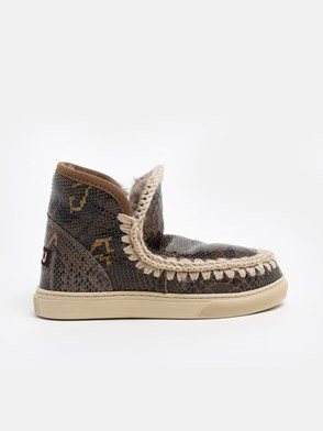 MOU - BROWN SNAKE-PRINT ESKIMO SNEAKERS
