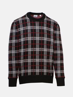 BURBERRY - BLACK FLETCHER CHECK SWEATER