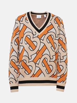 BURBERRY - BEIGE AND ORANGE NAMATA SWEATER