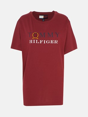 HILFIGER COLLECTION - BURGUNDY BOYFRIEND T-SHIRT