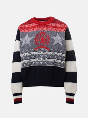 HILFIGER COLLECTION - MAGLIERIA LANA STARS & STRIPES