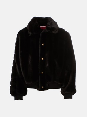 GCDS - BLACK FUR COAT