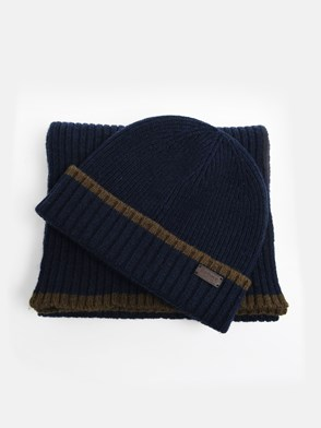 BARBOUR - BLUE BEANIE AND SCARF