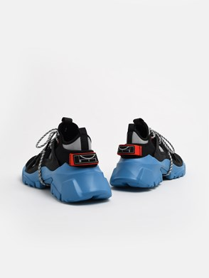 McQ BY ALEXANDER MCQUEEN - BLACK AND LIGHT BLUE ORBYT SNEAKERS