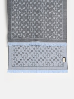 GUCCI - GREY AND LIGHT BLUE GG SCARF