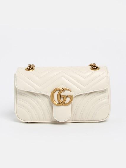 WHITE GG MARMONT BAG