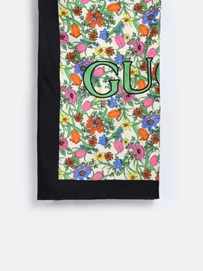 GUCCI - IVORY AND BLACK FLORA FOULARD