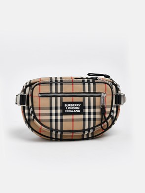 BURBERRY - BEIGE CHECK FANNY PACK