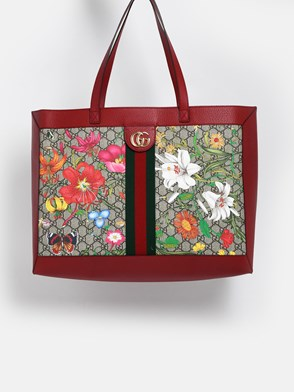 GUCCI - RED GG SUPREME FLORA BAG