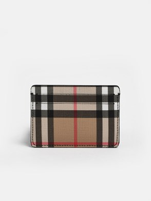BURBERRY - BLACK CHECK CARD HOLDER