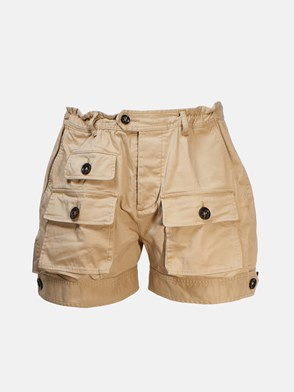 DSQUARED2 - BEIGE SHORTS WITH DEEP POCKETS