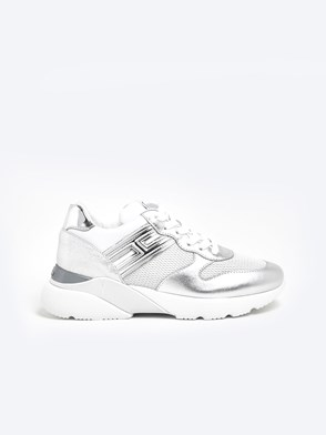 HOGAN - WHITE AND SILVER ACTIVE ONE SNEAKERS