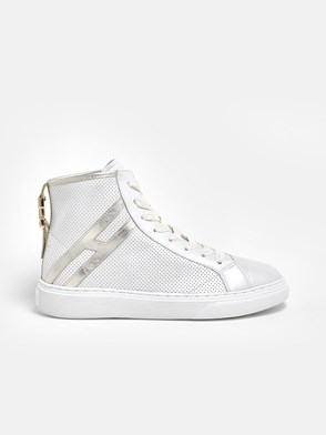 HOGAN - WHITE AND GOLD H366 HIGH SNEAKERS