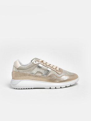 HOGAN - GOLD AND BEIGE INTERACTIVE3 SNEAKERS