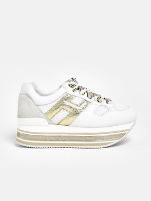 HOGAN - WHITE AND GOLD MAXI H516 SNEAKERS