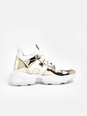 HOGAN - WHITE AND GOLD H487 SNEAKERS
