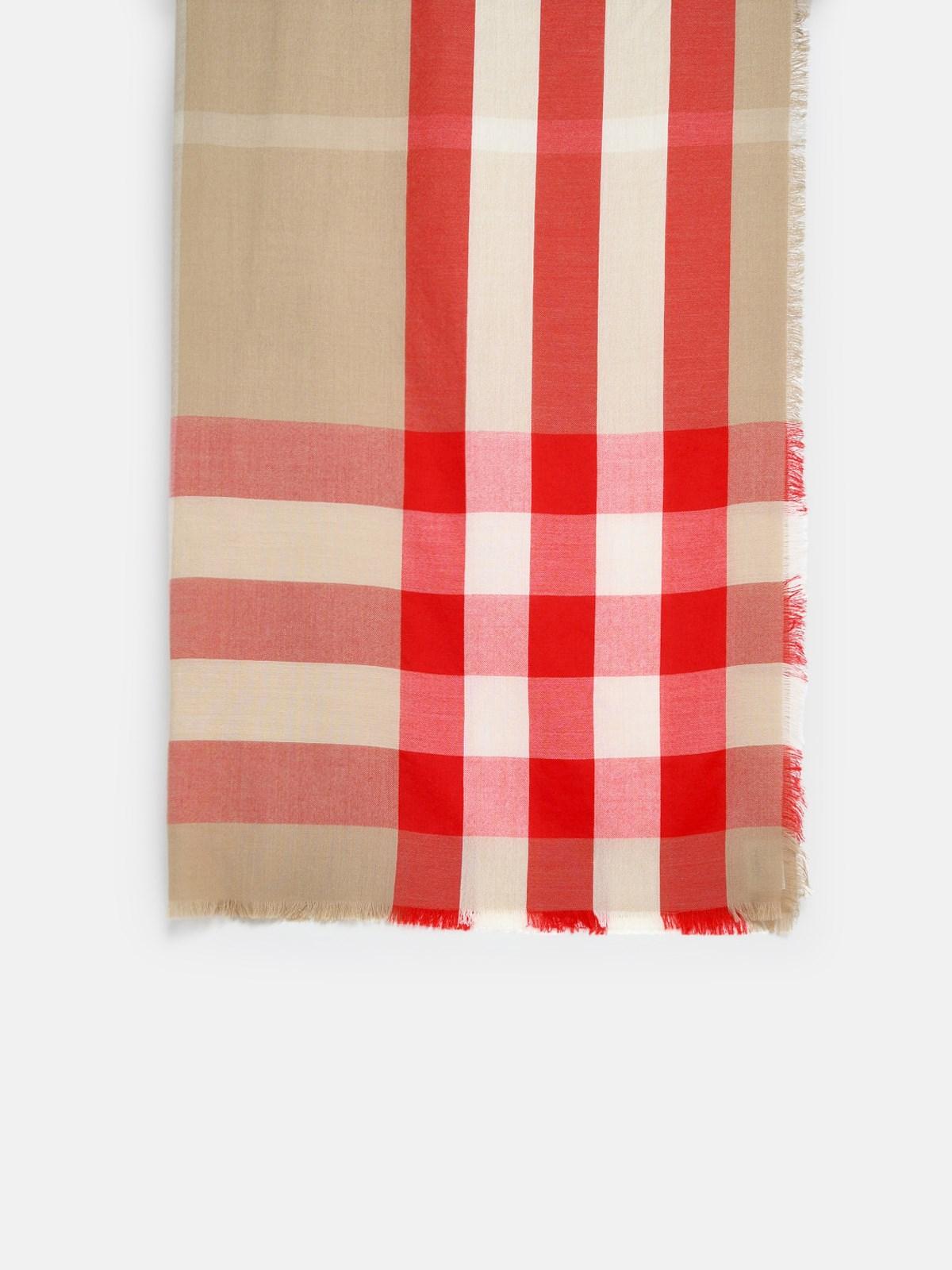 Burberry Scarves RED MEGA CHECK HALF SCARF
