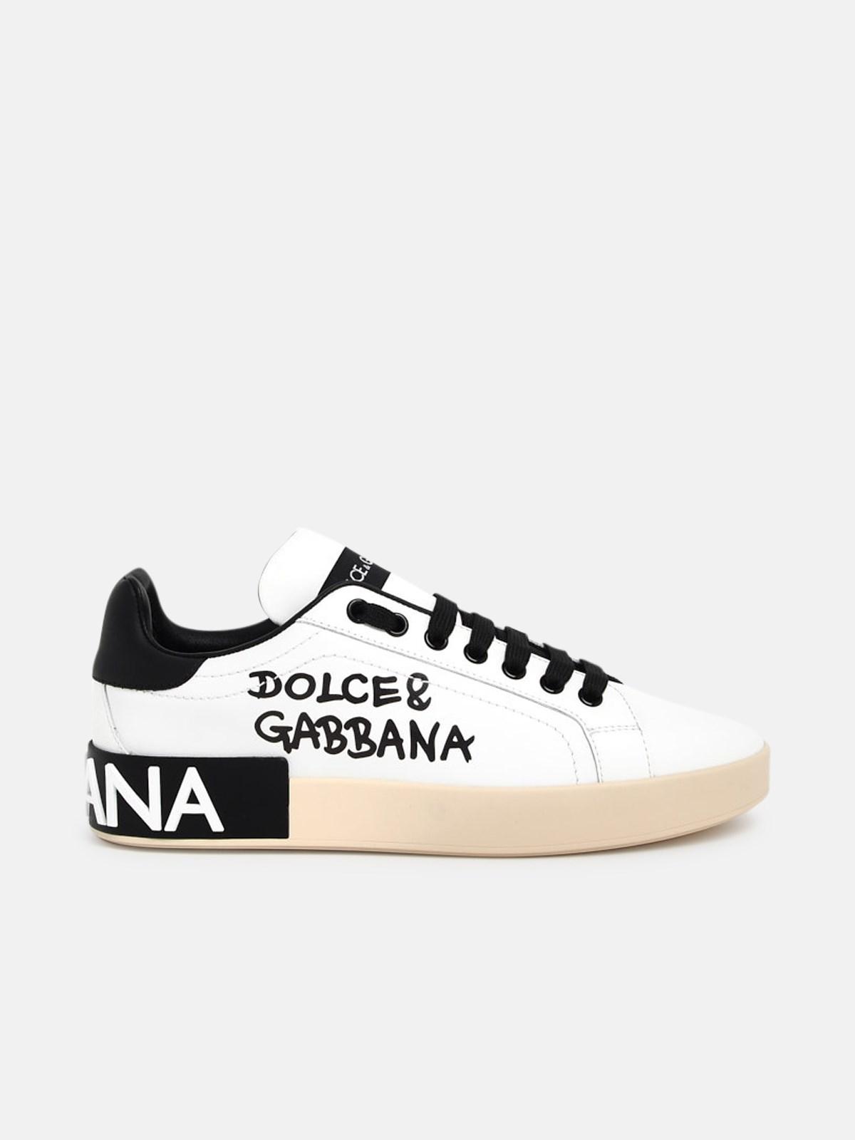 Dolce & Gabbana Leathers WHITE PORTOFINO SNEAKERS