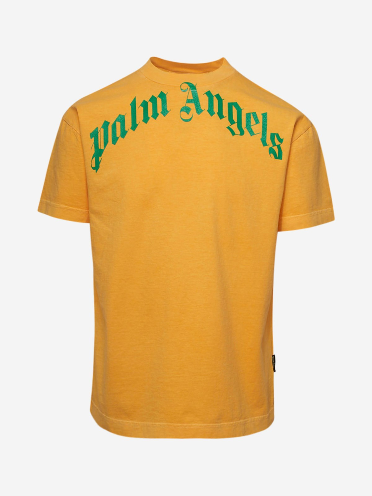 PALM ANGELS T-SHIRT VINTAGE WASH CURVED GIALLA