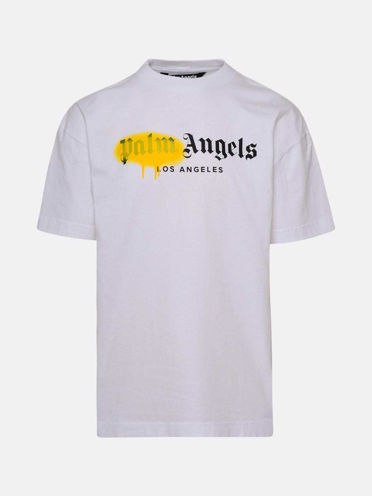 Palm Angels T-shirts WHITE LA SPRAYED T-SHIRT